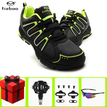 TIEBAO Cycling Shoes men sneakers women spd pedals Bicycle Professional Athletic Self-Locking Shoes Men MTB Leisure Bike Shoes