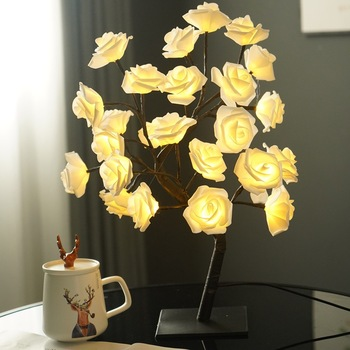 LED Table Lamp USB Fairy Rose Flower Tree Night Light Party Xmas Christmas Wedding Decoration Thanksgiving For Home Bedroom 1