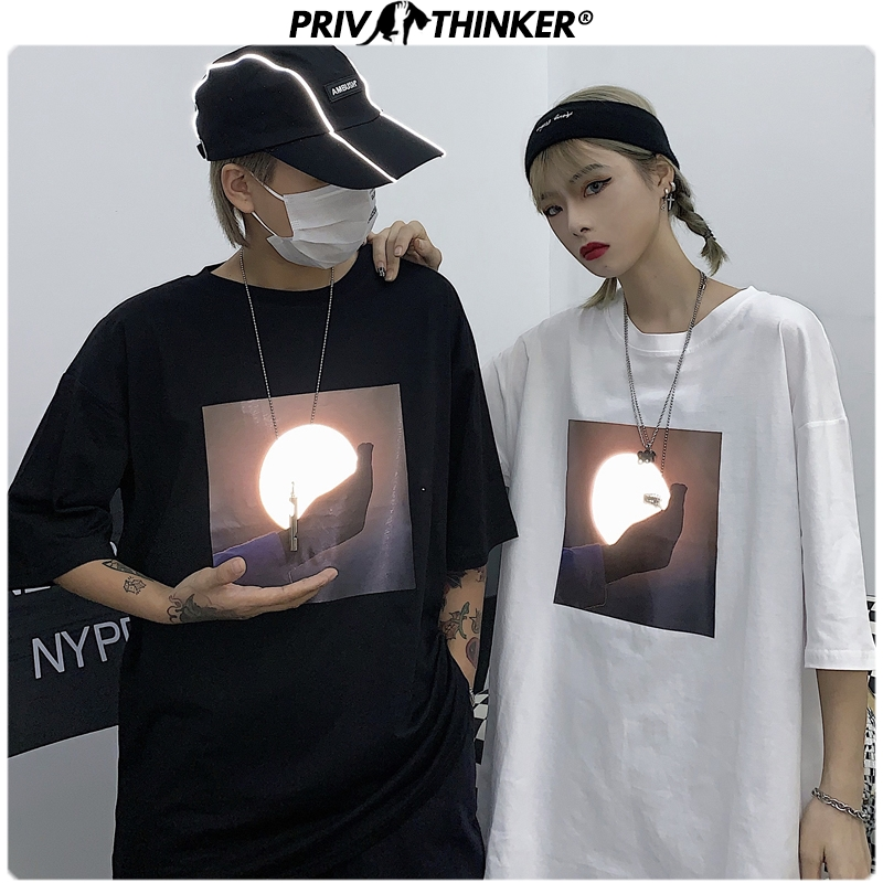 Privathinker Men Street-style Moon Reflective Tshirts Couple Summer Short Sleeve T-Shirts Tees Male Clothing T Shirts Tops 2020
