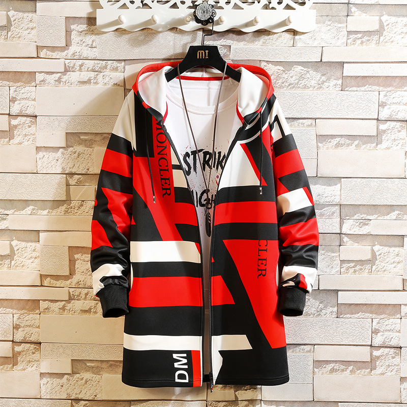 Spring Autumn Hip Hop Street Casual Fashion Trench Coat Men Hooded Printing Long Sleeve Mens Windbreaker Pocket Trench Jackets