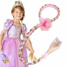 Peruca loira para cosplay, meninas pequenas, trança tangular, de princesa rapunzel, acessórios de cabelo para meninas