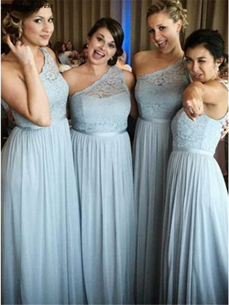 One Shoulder Long   Bridesmaid     Dresses   2019 Lace Chiffon A-Line Zipper Simple Wedding Guest Gowns Maid of Honor   Dress   Cheap