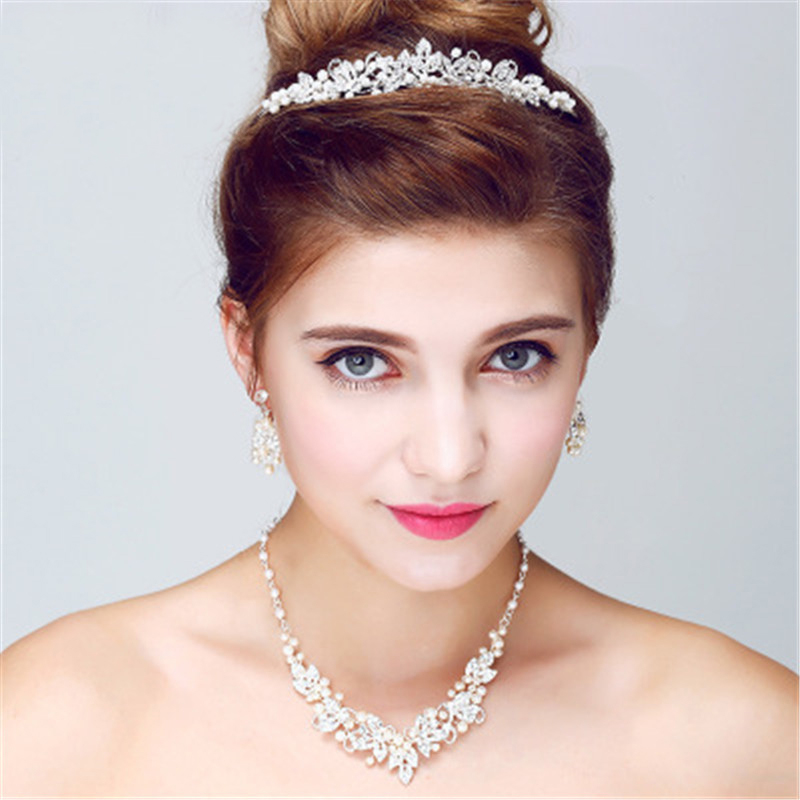 Crystal Handmade Bridal Headwear Wedding Jewelry Accessories For Bride Silver Rhinestones Jewelry Set Headband Necklace Earrings