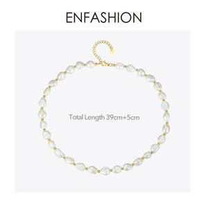 Image 5 - ENFASHION Natural Pearl Choker Necklace Women Gold Color Stainless Steel Irregular Pearl Necklace Fashion Femme Jewelry P193050
