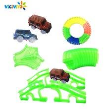 Светящийся гоночный автомобиль трек Светящиеся в темноте игрушки пересечение/туннель/Арка мост автомобиль набор изгиб Flex автомобили игрушки для детей brinquedos