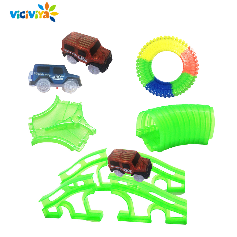New Glowing Car Racing Track Glow In Dark Toys Crossing/Tunnel/Arch Bridge Car Set Bend Flex Cars Toy For Children Brinquedos