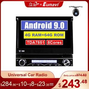 Image 1 - Eunavi 4G RAM 1 Din Android 9.0 Octa 8 Core Car DVD Player For Universal GPS Navigation Stereo Radio WIFI MP3 Audio USB SWC
