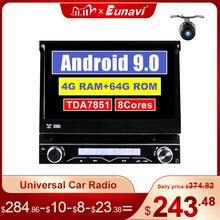 Eunavi Штатная магнитола андроид системный блок автомагнитола магнитола 1din с навигацией 1 din dvd мультимедиа автомобиля головное устройство GPS 4ГБ 64ГБ Android 9.0 TDA7851 до 8 ЯДЕР 1024*600 Стерео видео