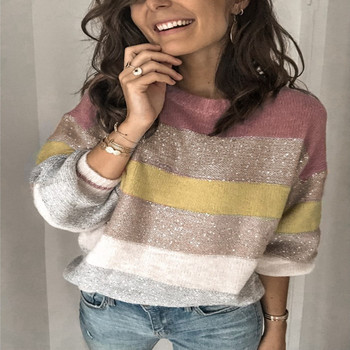 Europe and the United States 2020 autumn new popular casual loose collar sweater multi color splicing sweater-38