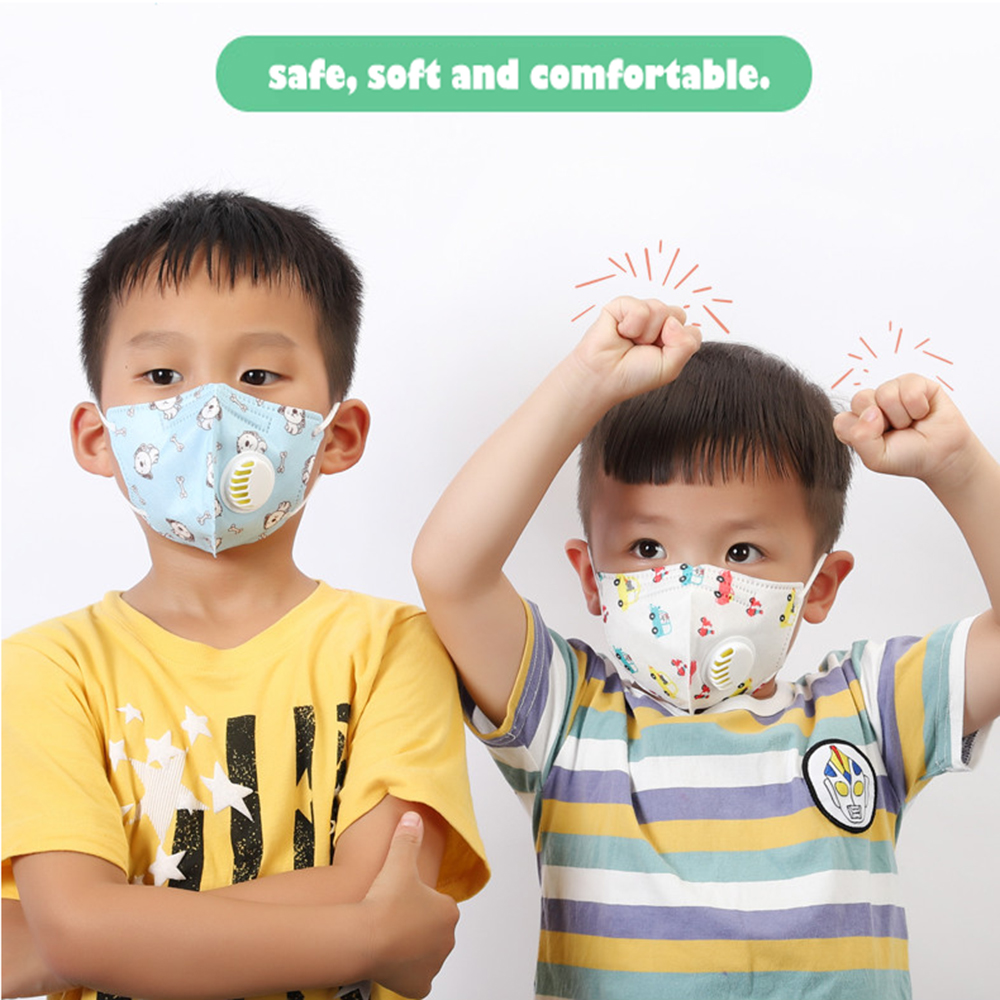N95 Child Face Mask For 1-10 Years Non-Woven Mask 5 Layer Respirator Protective Mask Dustproof Mouth Masks With Breath Valve