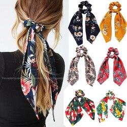 Moda floral impressão scrunchies sólido longo fita de cabelo para as mulheres rabo de cavalo cachecol doce elástico faixa de cabelo acessórios para o cabelo
