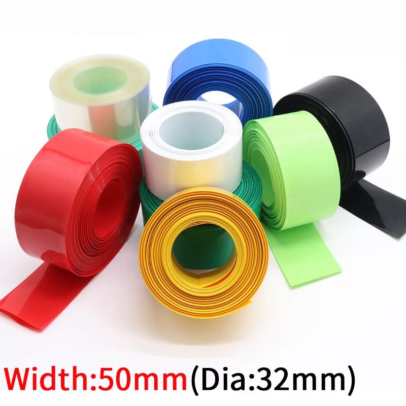Genişlik 50mm PVC ısı borusu Shrink Dia 32mm lityum pil 18650 paketi yalıtımlı streç Film koruma çantası paketi tel kablo kılıfı