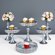 SIlver Mirror tray  jewelry storage tray  cold meal fruit tray cake stand set