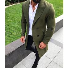 Najnowszy męski trencz społeczny męski długi zimowy ciepły koreański styl dżentelmen dwurzędowy wełniany Slim w stylu fit streetwear odzież tanie tanio Toplimit Pełna Stałe Podwójne piersi Skręcić w dół kołnierz REGULAR HB19101716 NONE Suknem COTTON Konwencjonalne