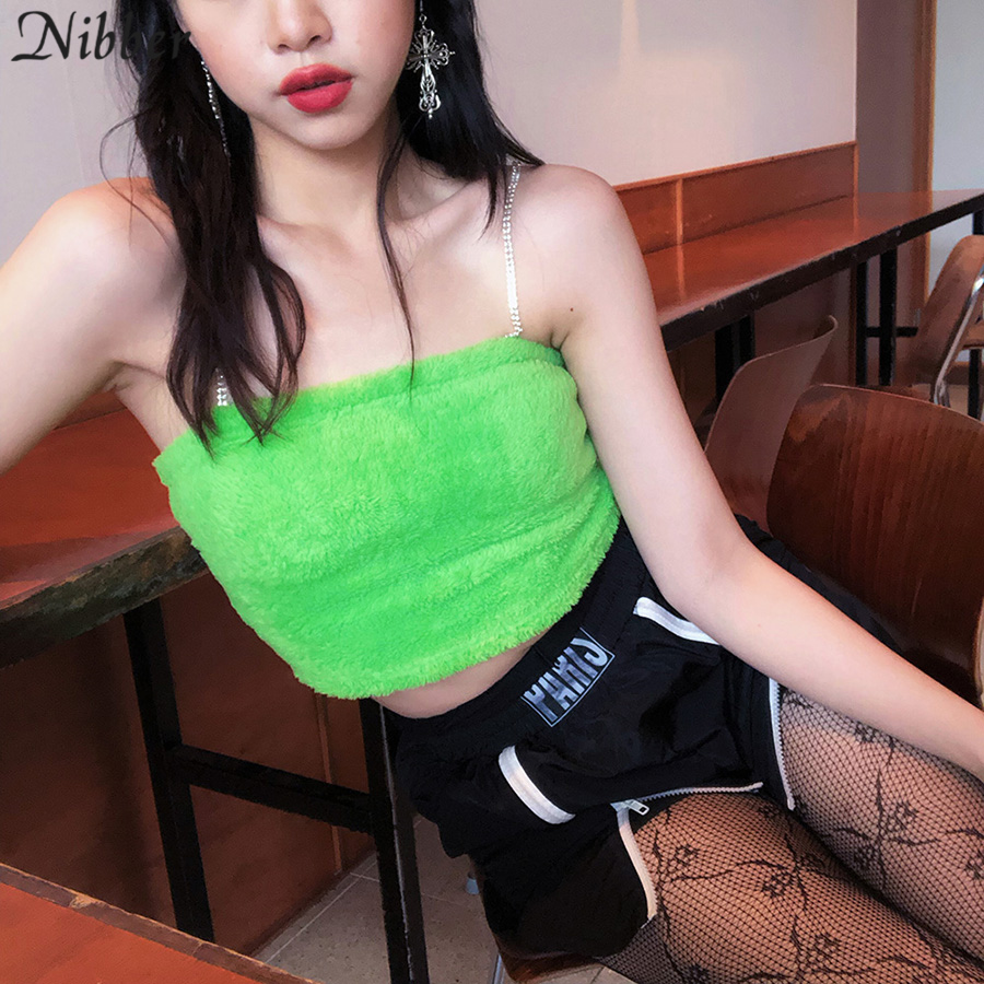 Nibber autumn hot cute hairy crop top Slim Metal chain camisole women 2019 Harajuku casual home wear Basic Slim tank tops mujer