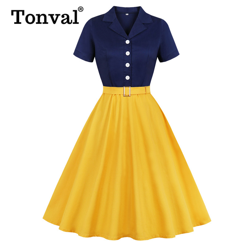 Tonval Navy Blue And Yellow Two Tone Button Up Cotton Elegant Dress Women Belted Rockabilly Vintage Plus Size Midi Dresses