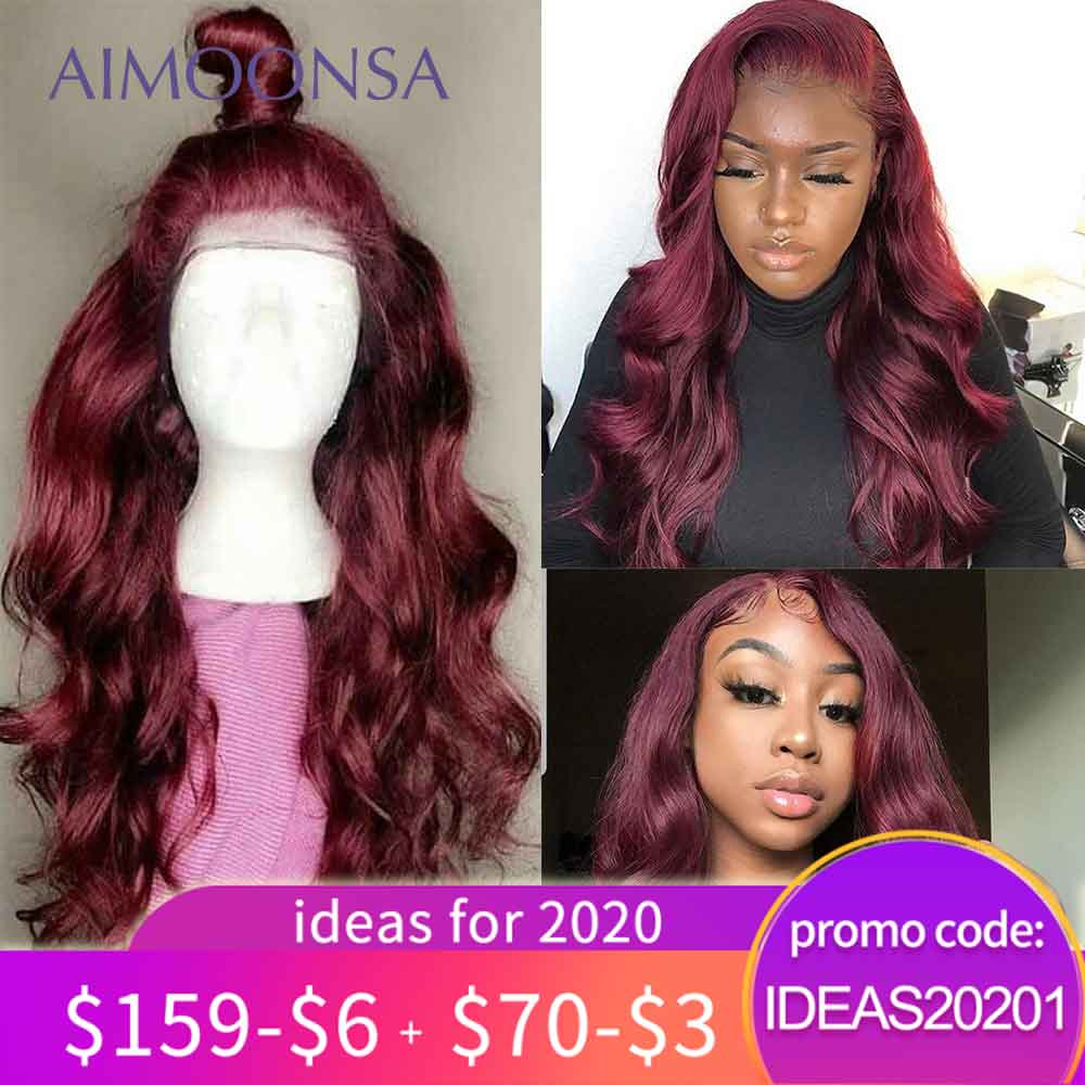 Burgundy Lace Front Wig 13x6 Red Human Hair Wigs For Black Women 150% Density Colored Ombre Lace Front Wigs Pre Plucked Remy