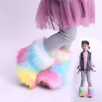 Kinder Schnee Stiefel Winter Neue Kleinkind Mädchen Stiefel Mode Bunte Fell Kinder Stiefeletten Plus Samt Warme Baumwolle Schuhe für mädchen