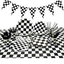 Forniture per feste di compleanno per auto da corsa per bambini piatti di carta tazze plaid bianco nero stoviglie usa e getta scacchi bomboniere a tema