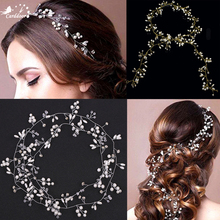 Carddoor Handmade Pearl Women Headbands Hair Belt Bridal Hair Ornaments Gift Rhinestone Wedding Hair Accessories 35/50/100cm