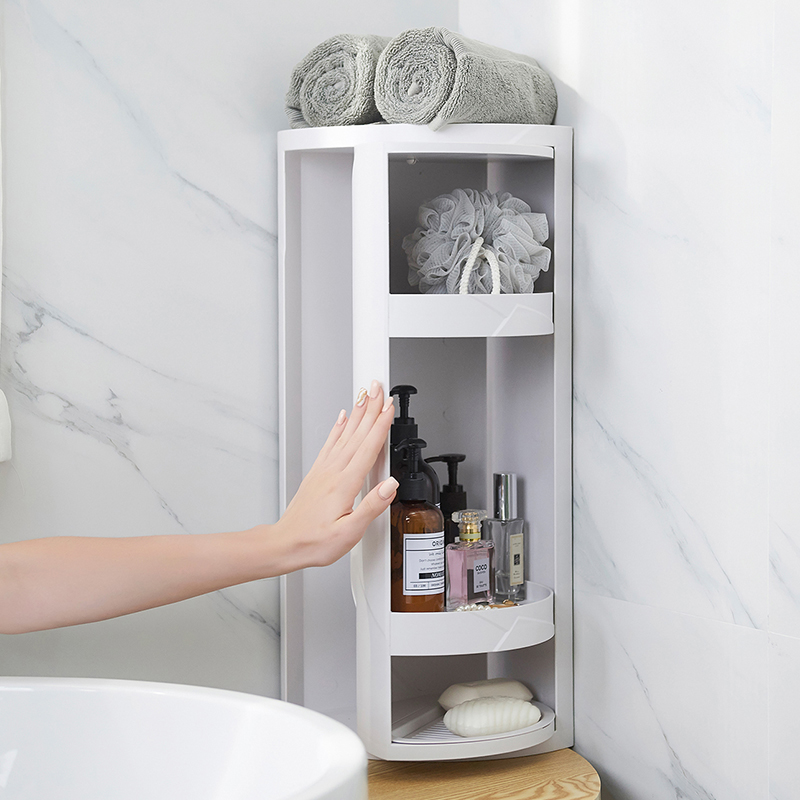 bathroom corner shelf rack rotating 360