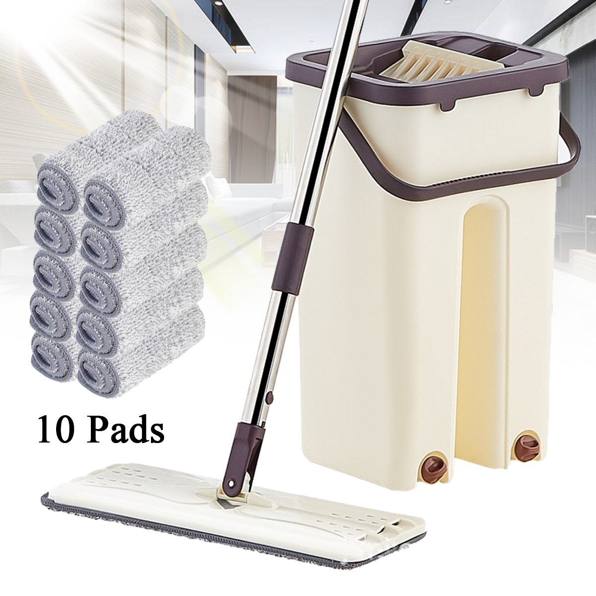 Flat Squeeze Mop and Bucket Hand Free Wringing Floor Cleaning Mop Wet or Dry Usage Magic