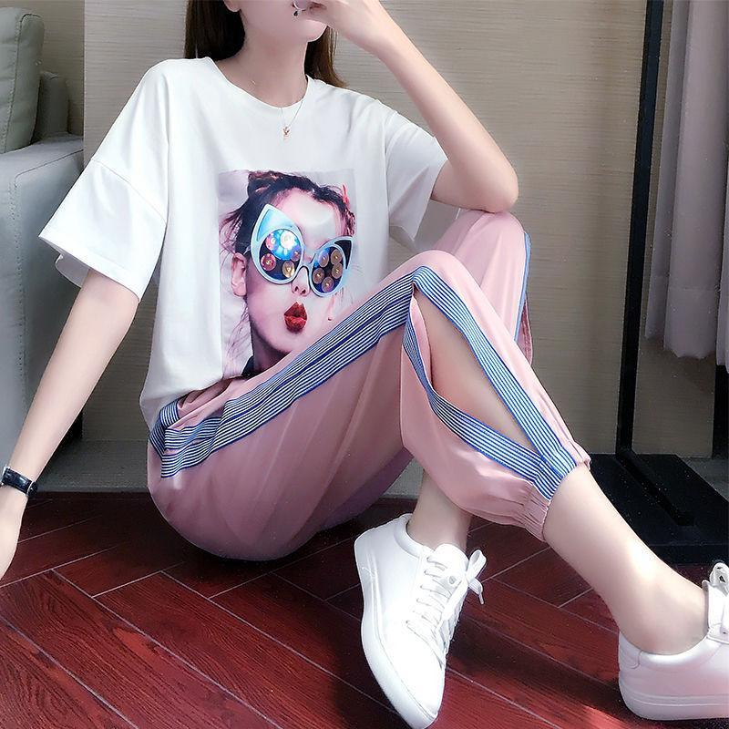 Sports Suit Women Fashion Street Clothes Summer New Fashion Teenage Students Loose Casual Clothes Two Piece Set Jogging Femme