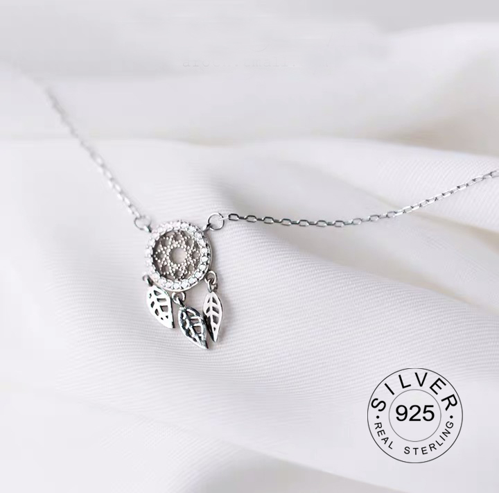Real 925 Sterling Silver Pendant Necklace Dreamcatcher Fine Jewelry For Women Romantic Engagement Accessories Gift
