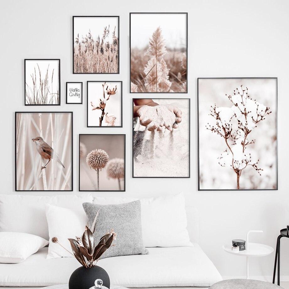 Настенная картина Hnad с изображением песочного цветка одуванчика птицы тростника настенная Картина на холсте скандинавские плакаты и принты настенные картины для гостиной домашний декор