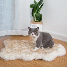 Pet Dog Bed Mat Curve White Dog Rug Faux Fur Orthopedic Dog Bed For Big Medium Small Puppys Support Dropping Shipping(China)