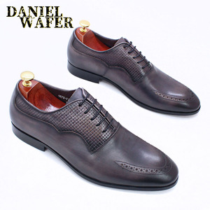 Image 2 - יוקרה מותג גברים אוקספורד נעלי איטלקי בעבודת יד עור אמיתי פורמליות נעלי תחרה עד אפור משרד עסקי חתונה שמלת נעלי גברים