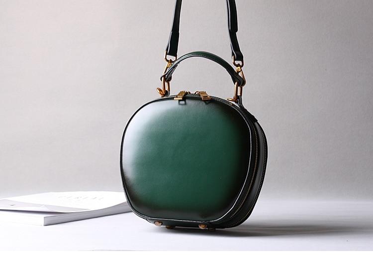 2019 новая кожаная сумка в стиле ретро, сумка через плечо, модная маленькая круглая сумка - 4