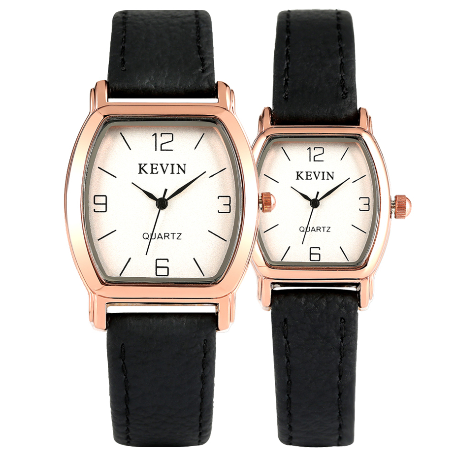 Leather Watch Band Couple Watch Men Women Quartz Business Casual Wristwatch Couple Watches Gifts KEVIN Brand New Arrival 2019