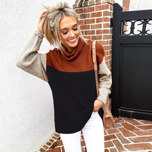 2019 Women Winter Blouse Tops Fashion Patchwork Turtleneck Shirt Casual Long Sleeve Knitting Loose Blusas Mujer D30