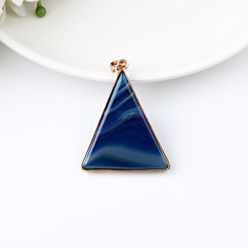 Beadsland Metal Edged Triangle Design Smooth Natural Stone Pendant For DIY Necklace Woman Girl Gift 40418 in Pendants from Jewelry Accessories