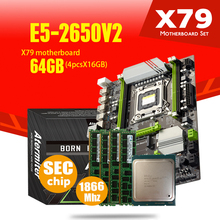 Atermiter X79 Turbo материнская плата LGA2011 ATX Combos E5 2650 V2 CPU 4 шт. x 16 ГБ = 64 ГБ DDR3 RAM 1866 МГц PC3 1490R PCI E NVME M.2