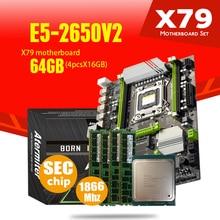 Atermiter X79 Turbo Moederbord LGA2011 Atx Combo E5 2650 V2 Cpu 4Pcs X 16Gb = 64Gb DDR3 ram 1866Mhz PC3 1490R Pci E Nvme M.2
