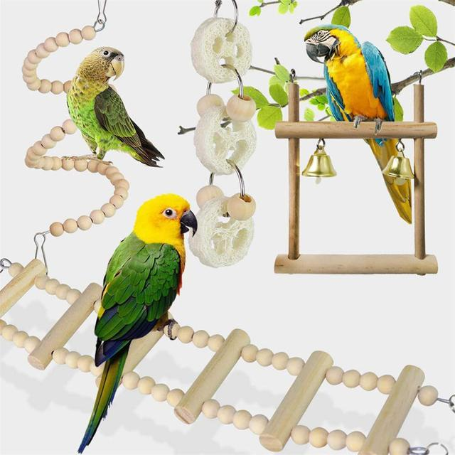 8pcs set Wooden Parrot Chewing Toy -Swing -Soft Ladder- Wooden Bead- Spiral Staircase 2