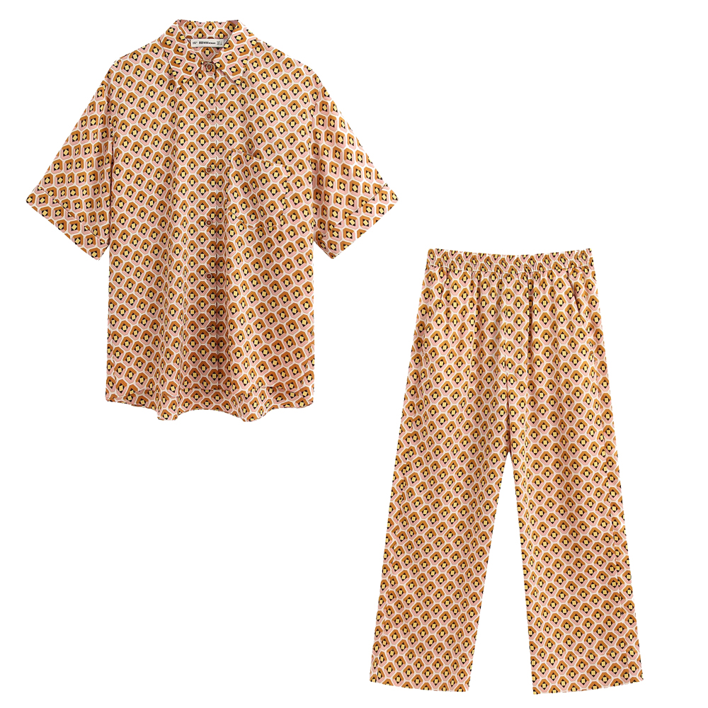 2020 New Summer Suits Women Two Piece Set Geometric Printed Blouse&pants High Waist Elastic Female Woman Clothes