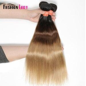 Image 3 - Extensiones de pelo ondulado brasileño precoloreado para mujer, mechones rectos de pelo humano ombré 1b/4/27, 1 unidad por paquete, no Remy
