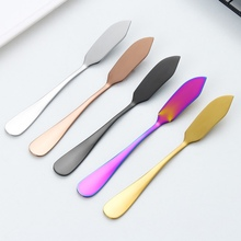 Stainless Steel Butter Knife Long Handle Jam Butter Spatula Western Tableware Cream Knurling Knife Kitchen Tools  Hot