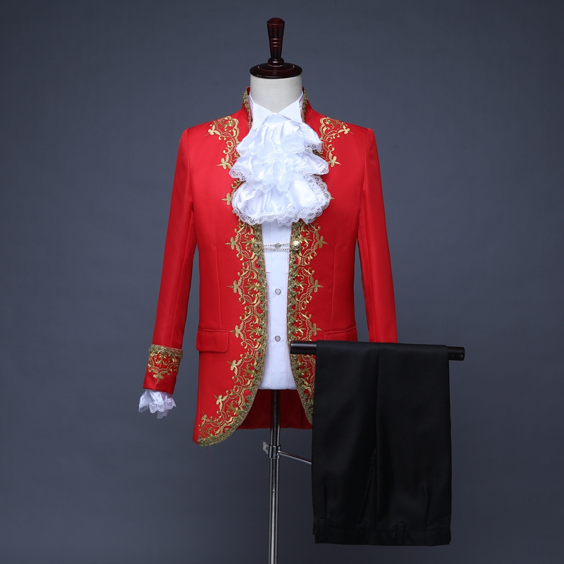 Male Suits England Style Formal Court Dresses Costumes Prom Teams Chorus Stage Costume Wedding Host Men Party Show Outfit DT1376 - 4