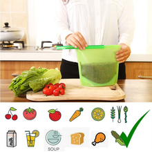 1000ml Silicone Food Bag Fresh Sealed Bags Reusable Zero Waste Ziplock Storage Refrigerator
