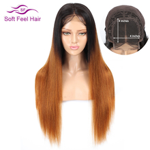 Soft Feel Hair 4x4 Ombre Lace Closure Human Wigs Pre Plucked Brazilian Straight Wig For Black Women T1B/30 Remy