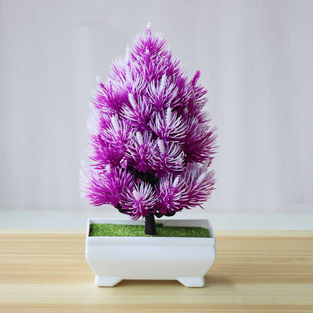 صنوبر اصطناعي شجرة بونساي وعاء شجرة صغيرة النباتات الزهور وهمية بوعاء الحلي للديكور المنزل فندق حديقة ديكور