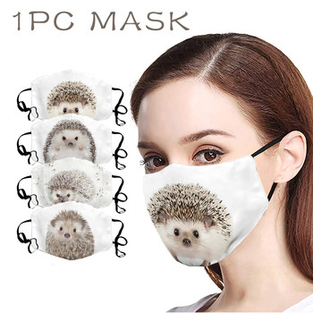 Adult Fashion Hedgehog Print Face Mask Breathable And Washable Reusable Cycling Scarf Auspicious symbol Face Mask Protective #K image