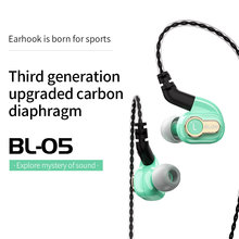 Ak blon BL-05S bl05s com 3rd geração 10mm atualizado diafragma de carbono alta fidelidade dinâmica fone de ouvido com 3.5mm banhado a ouro l plug