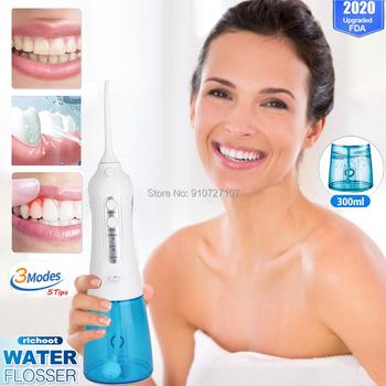 Nowy doustny irygador Dental USB akumulator Flosser irygator wodny przenośny irygator do zębów Flosser irygator wodny nawadnianie zębów Cleaner + 5 Jet 300ml tanie i dobre opinie RICHOOT CN (pochodzenie) Elektryczny irygator do jamy ustnej dla dorosłych teeth water flosser Leak Proof Satisfaction Guarantee