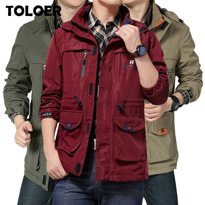 Мужская куртка-бомбер с несколькими карманами, водонепроницаемая тактическая куртка в стиле милитари, Повседневная ветровка с капюшоном н...