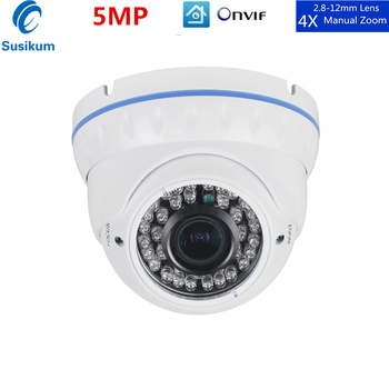 H.265 IP Camera Security Indoor Metal Casing 2.8mm-12mm Manual Zoom Lens IR Night Vision Surveillance Dome Camera CCTV free shipping evtevision 720p 2 8 12mm vari focal lens ahd camera indoor plastic dome 15m night vision cctv security camera